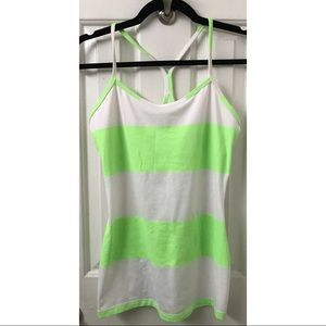 Lululemon Power Y Tank Neon Green Stripes